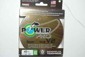 power pro braided fishing line super 8 slick V2 40lb 150yd spool hi vis aqua