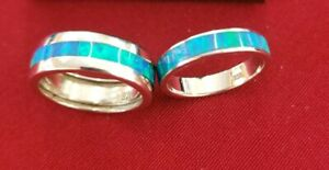 Rare Sterling Silver 925 Wedding Set ring W Blue Gilson Opal Size 6.5