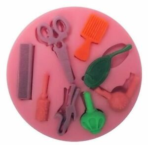 Hair Stylist Tools 8 Cav Silicone Mold for Fondant Gum Paste Chocolate Crafts