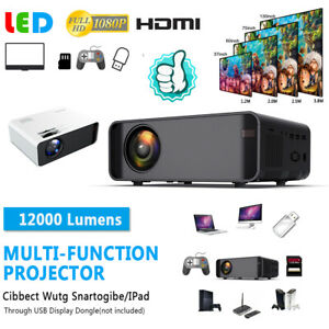 LED Smart Home Theater Projector 12000Lumen AVVGAUSBHDMITV 1080p HD 3D Movie