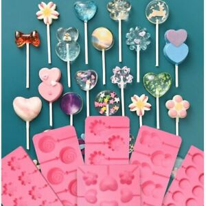 Round Heart Silicone Lollipop Mold Flower Candy Chocolate Molds Cake Decorating