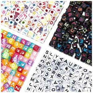 Letter Beads - 1200-Count Assorted Design Alphabet Beads for Kids Jewelry Making