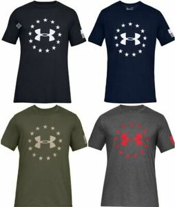 Under Armour 1333351 Mens Athletic UA Freedom Logo T Shirt Short Sleeve Tee $21.99