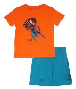 Under Armour Toddler Boys SS Football Dry Fit Top 2pc Short Set Size 2T