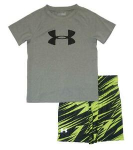 Under Armour Toddler Boys SS Gray Dry Fit Top 2pc Short Set Size 3T