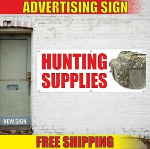 HUNTING SUPPLIES Advertising Banner Vinyl Mesh Decal Sign FISHING CAMP BOAT GEAR