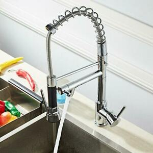 Flat Pull Down Sprayer Kitchen Faucet Brushed Nickel Single Hole Handle Deck NEW
