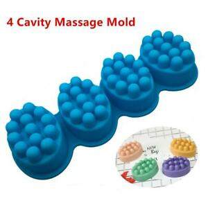 4 Cavity Massage Bar 3D Silicone Mold For Pudding Soap Jelly Mould Tray Durable