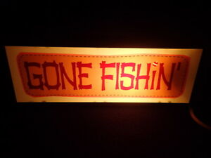 GONE FISHIN' & CAMP Metal LIGHTED SIGN Lodge Cabin Lake House Country Farm Decor