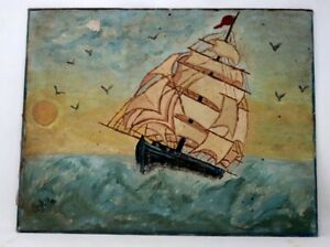 Antique Old Original Fine Oil Painting Of Ship Cruise Sea On Canvas Collectible