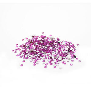 Fuchsia Flat Back Faceted Round Rhinestones