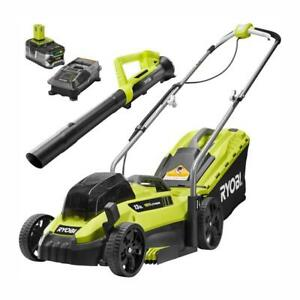 RYOBI 13 in. Push Lawn Mower/Leaf Blower Kit Battery/Charger Included