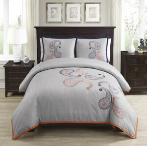 Chezmoi Collection Naomi 3 piece Paisley Floral Embroidered Duvet Cover Set