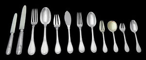 ROUSSEL, 300pc., MINERVA-1 950 STERLING SILVER FLATWARE SET + TRAYS, 1850-1899,