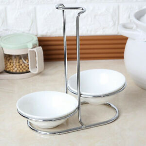 Ceramic Kitchen Spoon Rest Holder, Stainless Steel, Double Round Bowl