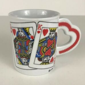 Vintage King & Queen of Hearts 8oz Coffee Cup Mug With Heart Handle