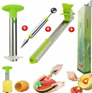 Watermelon Windmill Slicer, pineapple Cutter and Fruit carving knife Kitchen Set