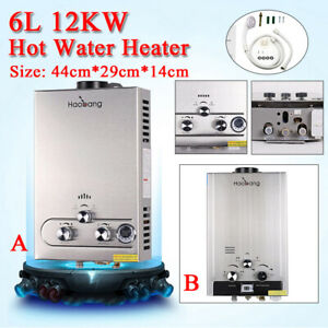 6L Gas Hot Water Heater Tankless LPG Whole House Instant Boiler With shower set