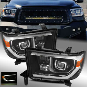 For 07-13 Toyota Tundra/08-17 Sequoia TRD PRO Look Black Projector Headlights