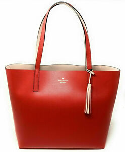 NWT Kate Spade Lakeland Marina Reversible Red Beige Leather Tote WKRU5342 $299