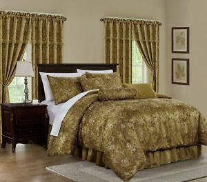 Lennox 7 Piece Gold Floral Jacquard Embroidered Comforter or 4pc Curtain Set