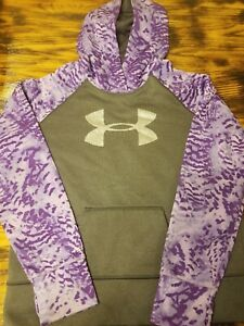 Womens Under Armour Purple gray Silver Logo Pullover Hoodie Sz Youth XLarge $25.00
