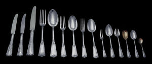 SOUFFLOT 319pc. FRENCH LOUIS XVI STERLING SILVER FLATWARE SET, CHEST 1850-1899,