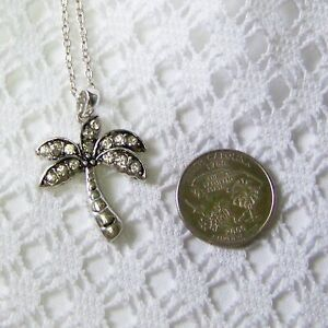 Rhinestone Tropical Palm Tree Necklace Crystals Silver Coconut Tree Pendant $15.00