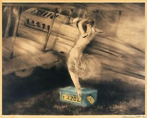 Gatsby woman leaning on airplane 8 x 10  art deco Louis Icart plane print