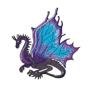 Purple Dragon Patch Legendary Fantasy Serpent Wings Embroidered Iron On Applique