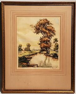 VINTAGE L. BERNARD SIGNED LANDSCAPE HAND COLORED ETCHING OF A RIVER amp; TREES $59.95