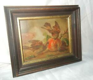 ANTIQUE OIL ON BOARD PAINTING SPARROW BIRDS & FRUIT PERIOD FRAME 8 1/4