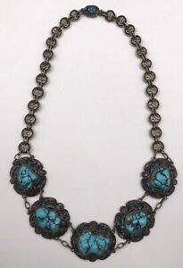 Elegant Asian Chinese Enamel Sterling Silver Necklace Natural Turquoise 65.5g