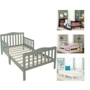 Toddler Bed for Kids Toddler Size Bed Wood W Safety Guardrails Baby Furniture