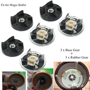 3 Plastic Gear Base + 3 Rubber Replacement For Magic Mixer Spare Parts New NEW