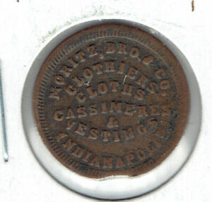 Indianapolis, Indiana Civil War Token MORITZ, BRO. & CO.  R8