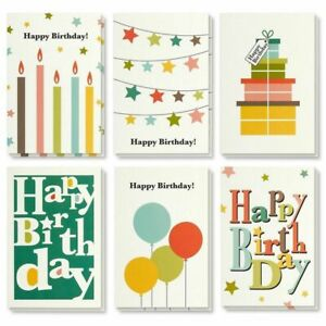 48 Pack Happy Birthday Greeting Cards Bright Party Designs w Envelope 4x6