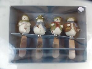 Cheese Butter Spreader Knife Party HolidayChristmas:Set 4 Decor St Nic Snowman