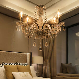Elegant Crystal Chandelier Modern Ceiling Light 4 Lamp Pendant Lighting Fixture