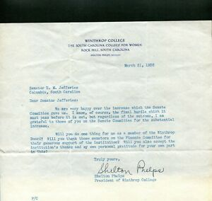 1936 WINTHROP COLLEGE ROCK HILL SC OFFICE  PRESIDENT LETTER SIGN SHELTON PHELPS