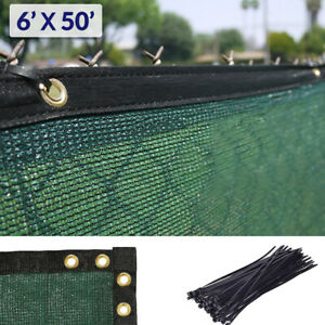6' x 50' Fence Windscreen Privacy Screen Shade Cover Fabric Mesh Tarp, Green