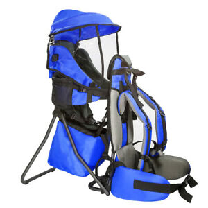 Clevr Baby Toddler Backpack Camping Hiking Child Kid Carrier w Shade Visor Blue