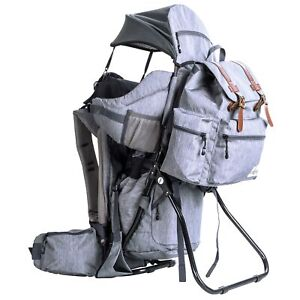 ClevrPlus Baby Carrier Child Backpack Hiking Camping wDetachable Bag Gray