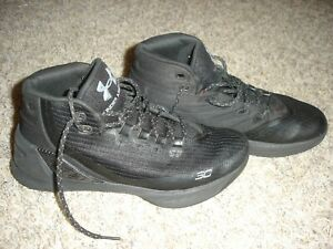 EUC Under Armour UA GS Curry 3 youth 6.5Y basketball athletic shoes kids Black