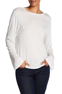 NWT Vince $120 Crew Neck Long Sleeve Tee in Heathered White; XS