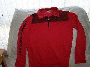 Boys Under Armour Red Long Sleeve 14 Zip Shirt Large  LOOSE FIT