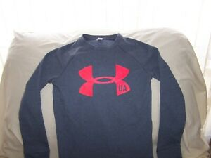 Boys Under Armour Gray Long Sleeve BIG LOGO COLD GEAR  Shirt Medium FITTED