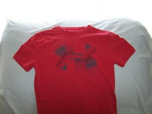 Boys Under Armour Red BIG LOGO Short Sleeve Shirt Small LOOSE FIT