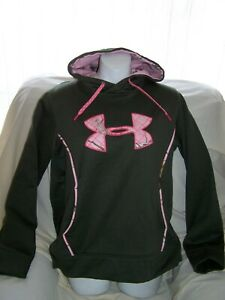 Womens Under Armour Army Green BIG QUILTED CAMO LOGO Hoodie Medium SEMI-FITTED