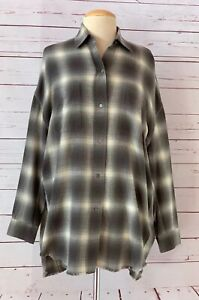 VINCE Womens Size XS Brushed Window Plaid Oversized Shirt Top Gray NWOT